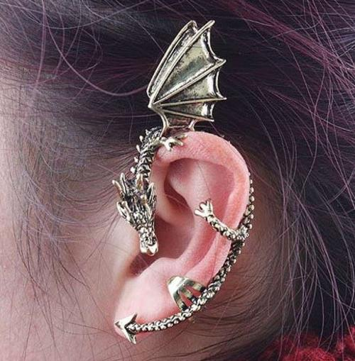 Dragon Wrap Around Earring Ear Cuff Gold
