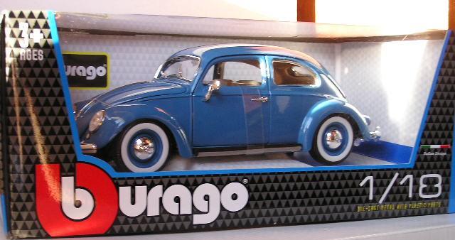 Models - Burago Diecast Model Car 12029 VW Volkswagen Beetle 1955 1/18 scale new in pack was ...