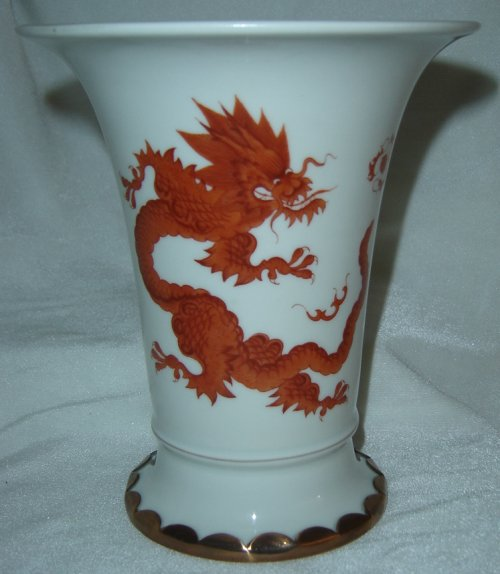 German Porcelain Collectable Meissen With Red Ming Dragon Motif