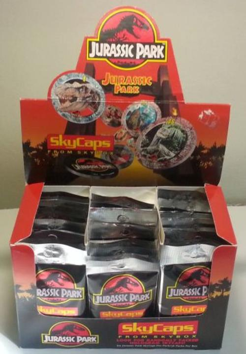 Jurassic Park - Rare SkyCaps Box with Sealed 36 packets of 6 Pogs each -  1993 Complete