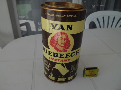 Other Africana - large 32 ozs. net Van Riebeeck coffee tin size is 250mm  high x 135mm wide was sold for R300.00 on 29 Sep at 19:01 by pfvz in  Vereeniging (ID:242327290)