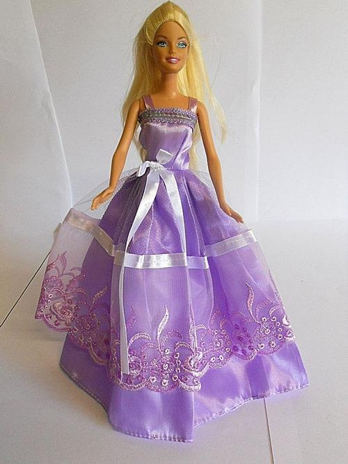 Clothing - Barbie doll purple violet lilac lace and satin with ...