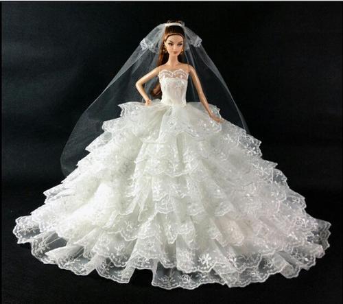 Barbie Doll 8 Layer Wedding Dress With Veil