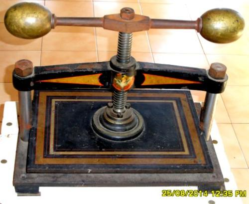 Antique book Press and table