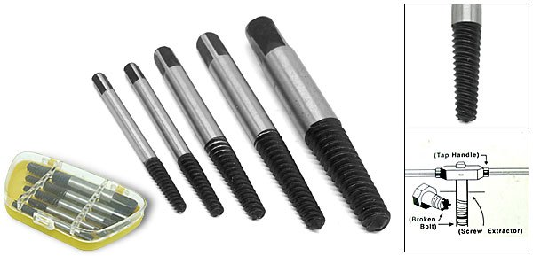 Remove Broken Bolt >> Other Tools 5 Piece Screw Extractor Set Remove Broken Bolts