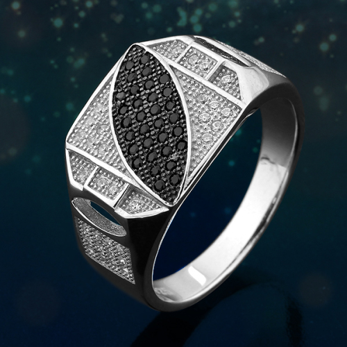 Rings Micro Pave Black and White Mens Ring in SOLID STERLING SILVER 925 Si