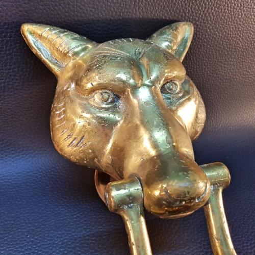 Brass massive vintage solid brass wolf head door knocker - Wolf head door knocker ...