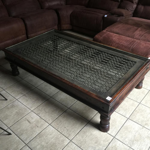 LARGE ANTIQUE TEMPLE DOOR COFFEE TABLE, SOLID