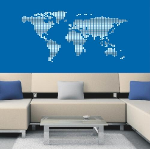 Wall decals world map squares vinyl decals wall art stickers decorate your living space with this fantastic wall decor finished size of design is roughly 120 x 60cm gumiabroncs Images