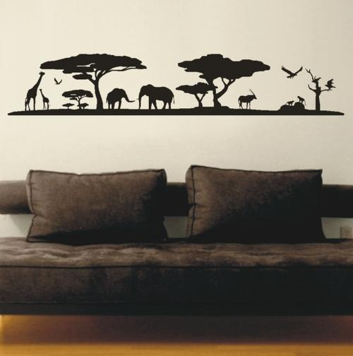 Wall decals african sunset silhouette vinyl decals for African sunset wall mural