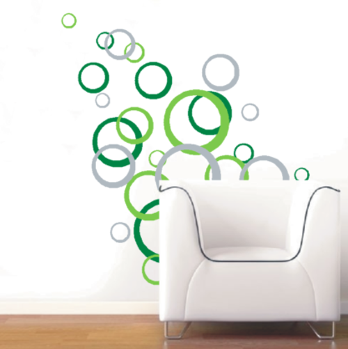 "wall decals - abstract ""circles"" vinyl decals - wall art stickers"
