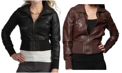 cbf22bf61 Ambiance PU Bomber Biker Jacket | Available in Black & Brown (Sizes Small  to Large)