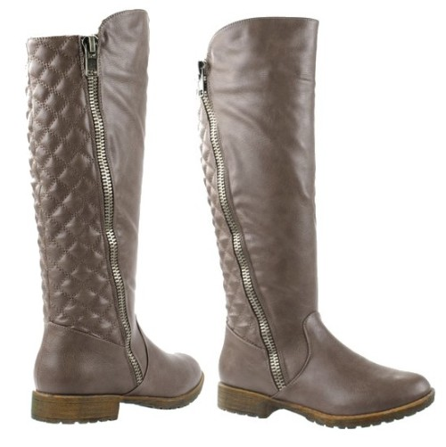 boots quilted zipper trim boots in taupe was