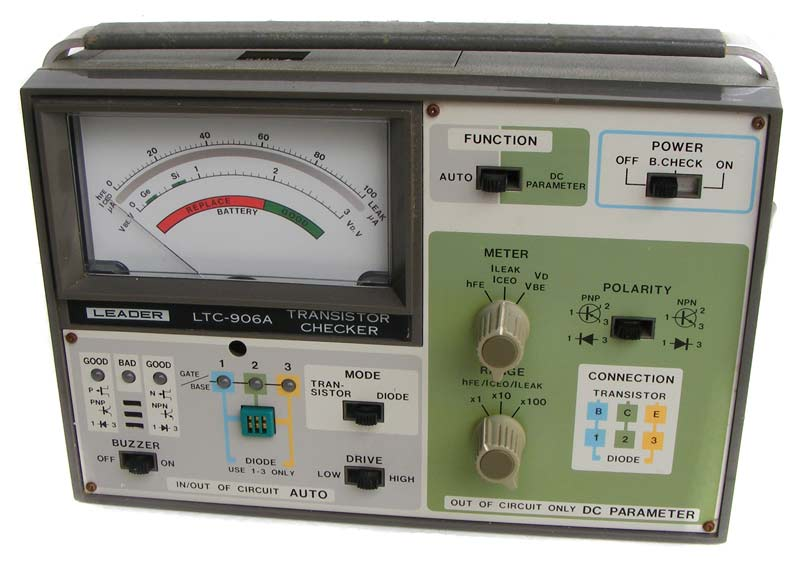 Test equipment vintage leader transistor testerchecker the meter is in an excellent cosmetic and perfectly working condition fandeluxe Choice Image
