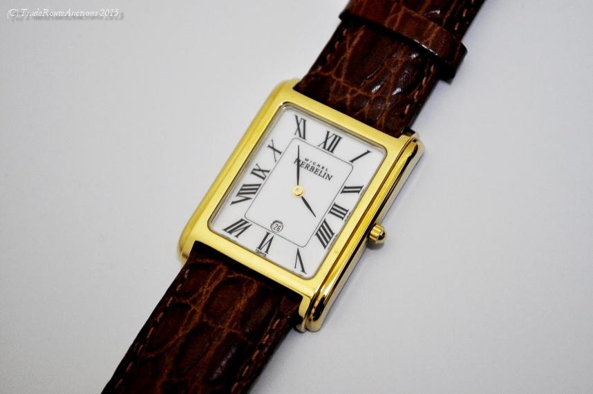 Michel Herbelin Men's Gold Plated Leather Strap Watch - Model : 16879/P01MA