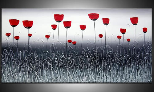 Handmade Signed Canvas Oil Painting 120cmx60cm Grey Red Flowers Cq008