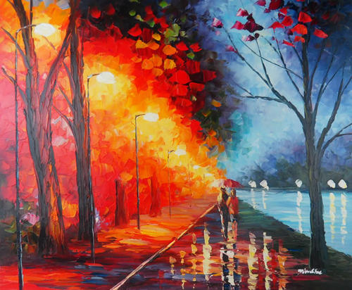 Oils Signed Pallet Knife Oil Painting Street Lamp Park