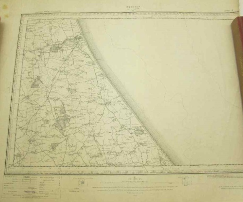 Hornsea (Bridlington 65) Ordnance Survey Of England Map- 53cm/46,5cm (Dept Of Agriculture Watermark)