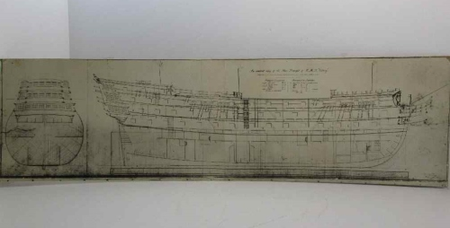 An Ancient Copy Of The Sheer Draft Of The HMS Victory Presented To The Royal Naval College Museum, Greenwich, By Mr Chas H Jordan