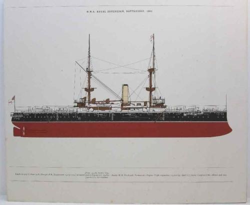 HMS Royal Sovereign, Battleship, 1892 Print - 43cm/36,5cm