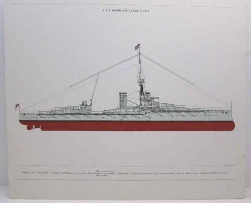 HMS Royal Orion, Battleship, 1912 Print - 43cm/36,5cm