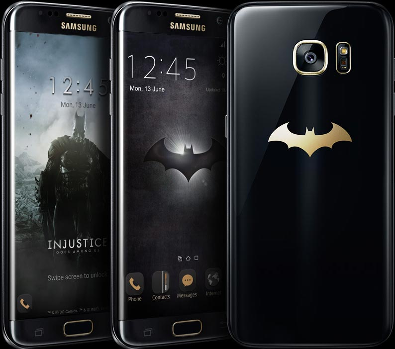3 Galaxy S7 edge Injustice Edition phones where two are facing forward with images depicting the game Injustice: Gods Among Us on the screen and one facing backward with a gold Batman logo on the back