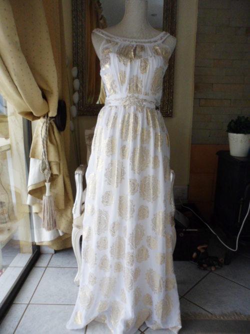 casual dresses - ginger mary - ornately patterned white  u0026 gold maxi summer dress