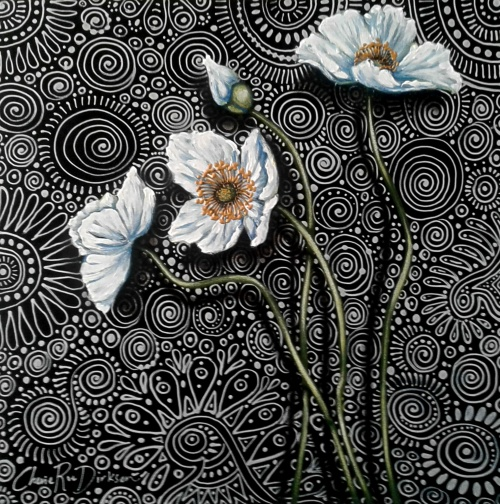 White Poppy Painting Original Painting by south african artist, Cherie Roe Dirksen