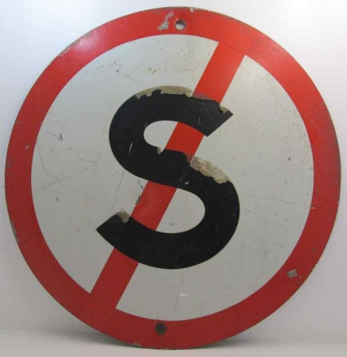 Vintage Metal No Stopping Sign - Diameter 60cm