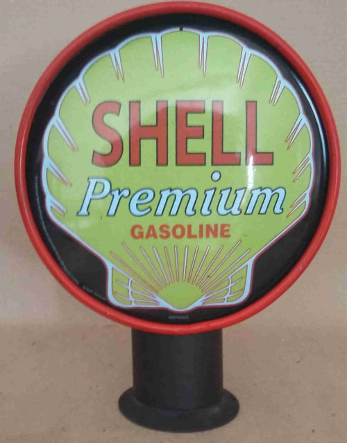 bar accessories shell premium gasoline double sided vintage replica petrol pump type light. Black Bedroom Furniture Sets. Home Design Ideas