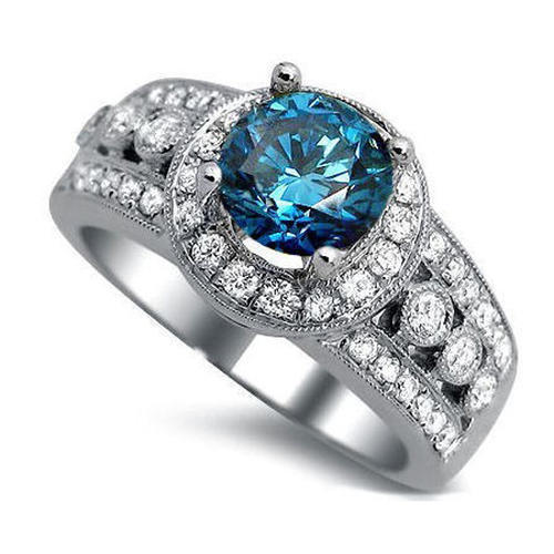 Rings Certified 2 50 Tcw SI2 Clarity Blue Real Diamond Designer Engagement