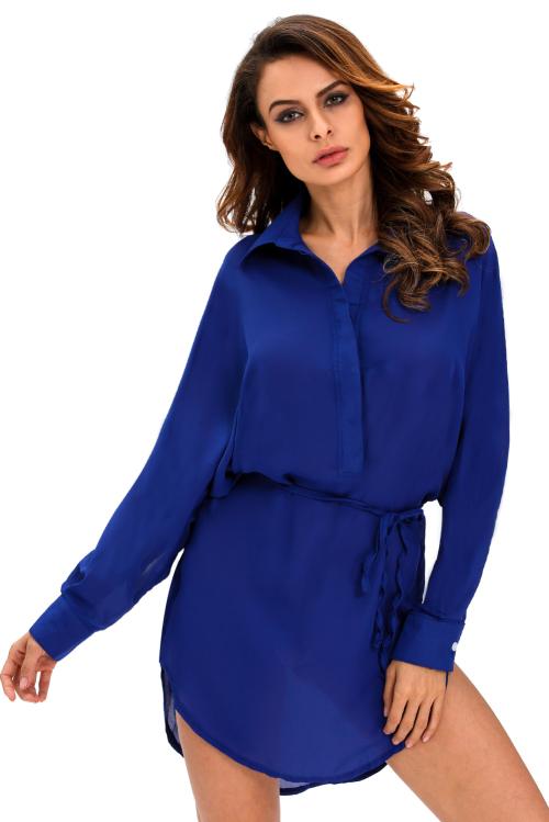 formal dresses blue shirt dress side slit belt buttons