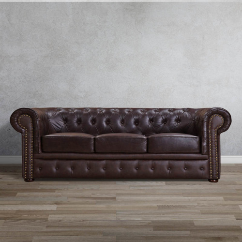 wildmoon chesterfield full genuine leather three seater couch