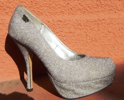 other s shoes sissy boy silver glitter heel