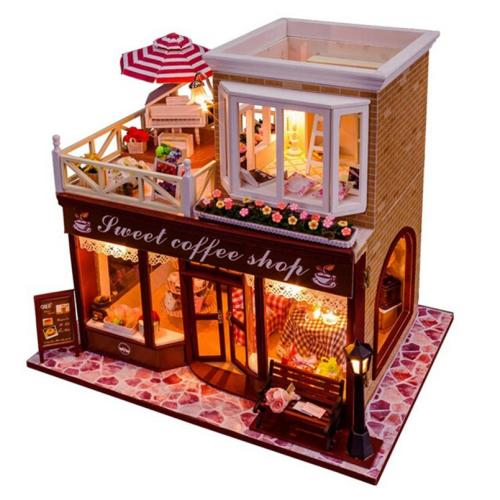 Doll House Miniatures Miniature Wooden Diy Doll House With Furniture Coffee Shop Was Sold
