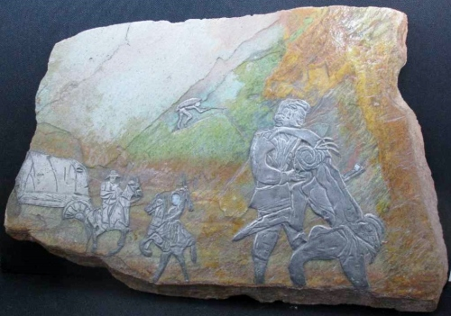 Decorative Slate Floor Tile Depicting Historical Scene - 67cm/45cm, Heavy - 12kg!