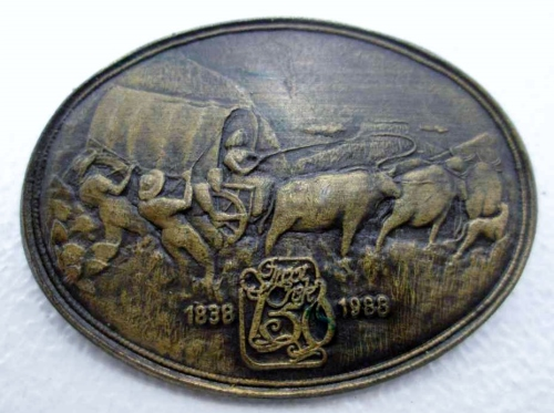 150th Anniversary Commemorative Groot Trek 1838-1988 Brass Brooch - 3,5cm/4,5cm