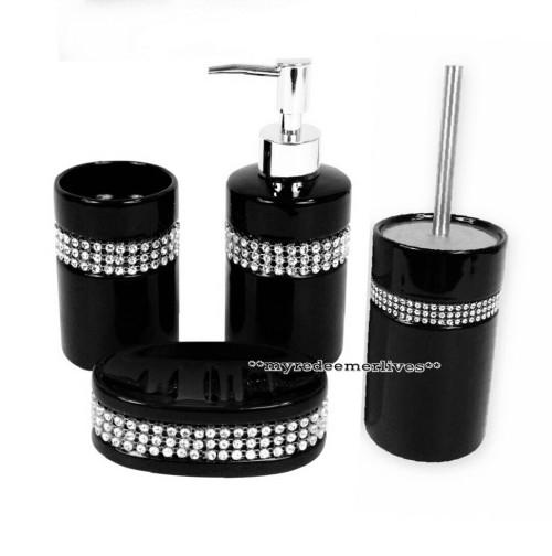 Bathroom Accessories 4 Piece Diamante Sparkle Bathroom Accessory Set Was Li