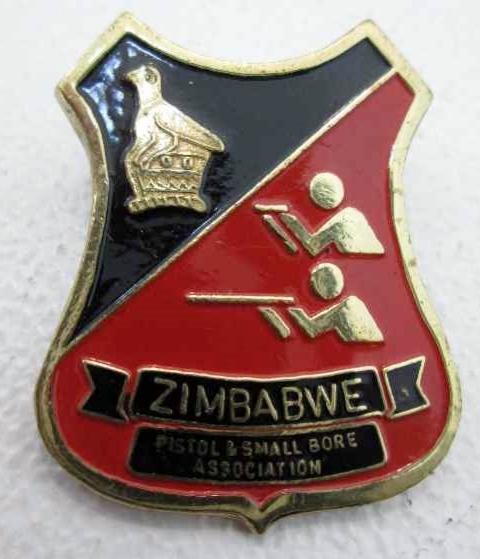 Zimbabwe Pistol & Small Bore Association Enameled Badge - 2cm/3,2cm