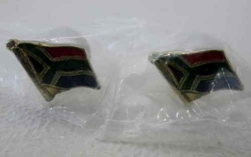 Pair Of South African Flag Metal Pin Badges (New) - 1,4cm/1,1cm