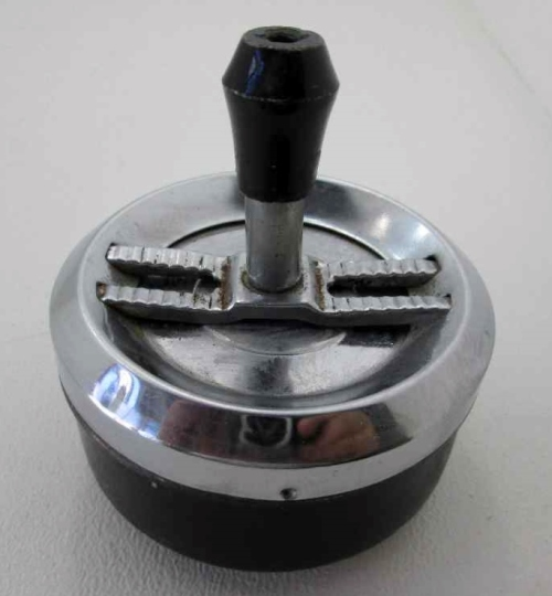 Retro Push/Swivel Ashtray, Made In Hong Kong - 11cm/9cm