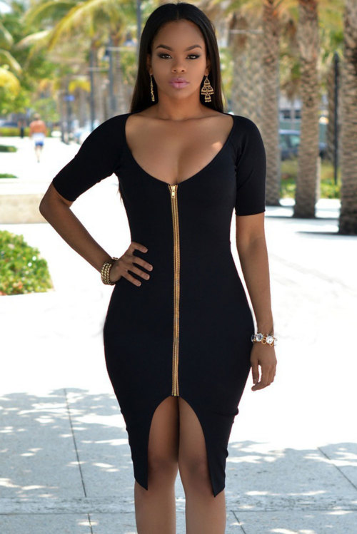 8696d395a607 Formal Dresses - Black Gold Zipper Front Open Back Midi Dress Formal ...
