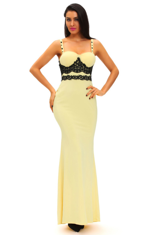 Formal Dresses - ***HOT SPECIAL*** YELLOW WITH BLACK LACE DETAIL ...