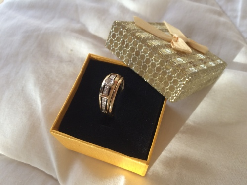 Gold Diamond Wedding & Engagement Ring & Band Set with FREE GIFT BOX ...