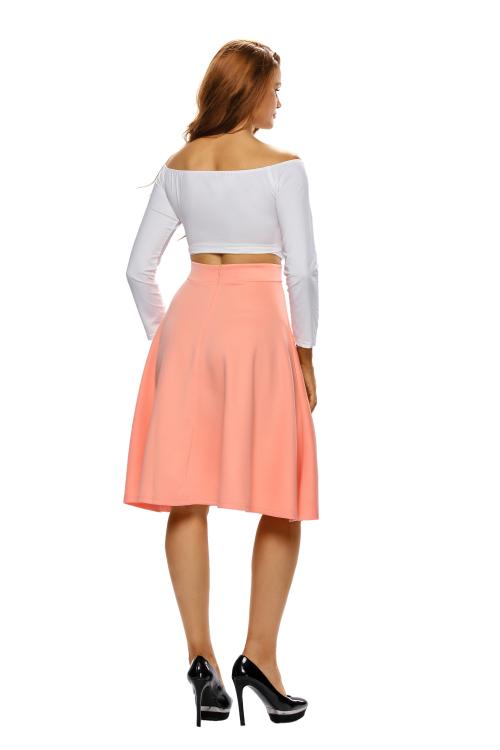 skirts orange flared a line midi skirt s m l was