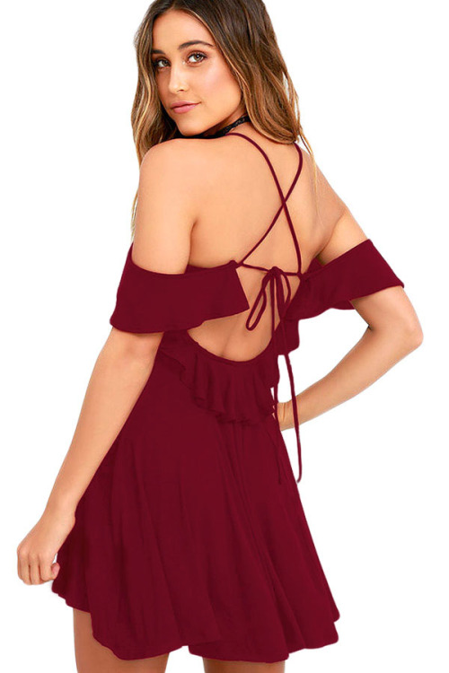 casual dresses sweet sexy wine red backless skater dress s m l was listed for on 5. Black Bedroom Furniture Sets. Home Design Ideas