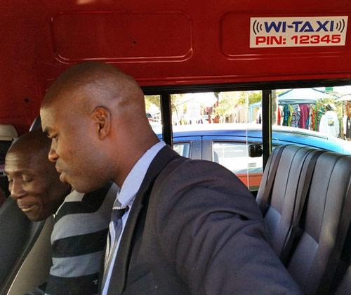 wi-fi hotspot in a taxi mini bus