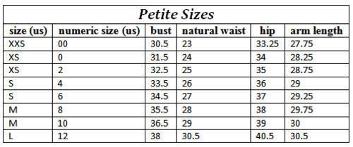 Petite size measurements
