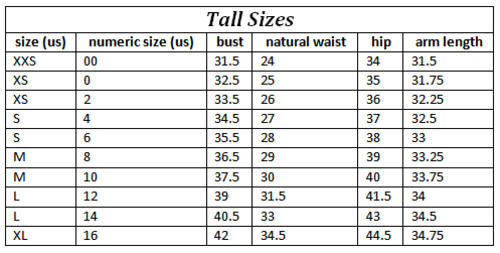 Tall size measurements
