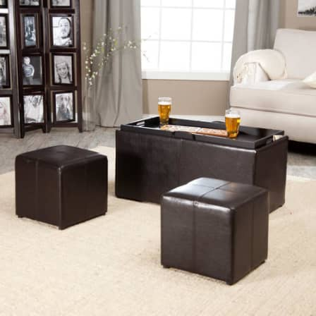 Ottomans Footstools Hazlo Lavish 3 Piece Pu Leather Convertible Coffee Table Tray Storage Ottoman Set Was Sold For R1 100 00 On 12 Jun At 12 49 By Zibbedy In Johannesburg Id 343655318